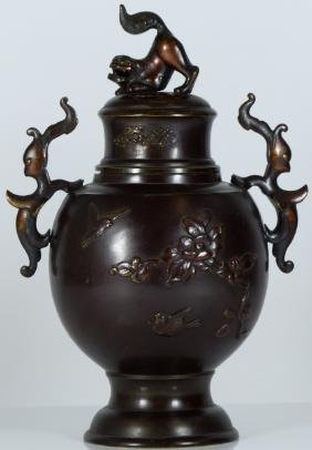 JAPANESE BRONZE CENSER w BIRDS & FOO DOG