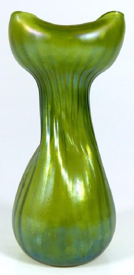 LOETZ IRIDESCENT GREEN ART GLASS VASE - 3