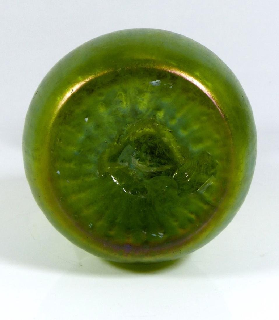 LOETZ IRIDESCENT GREEN ART GLASS VASE - 8