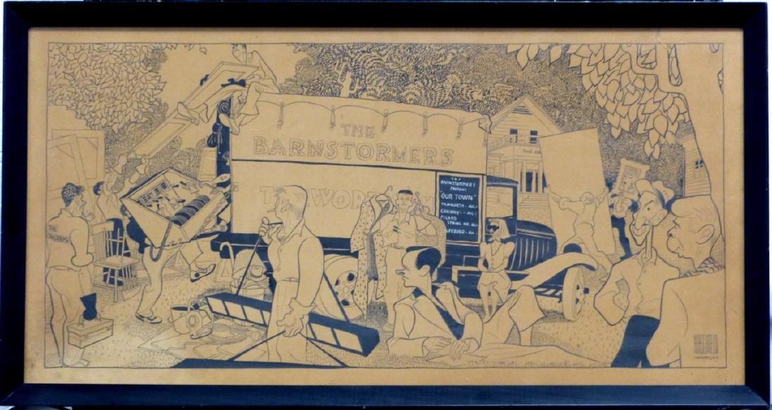 AL HIRSCHFELD 'THE BARNSTORMERS' PEN & INK / BOARD