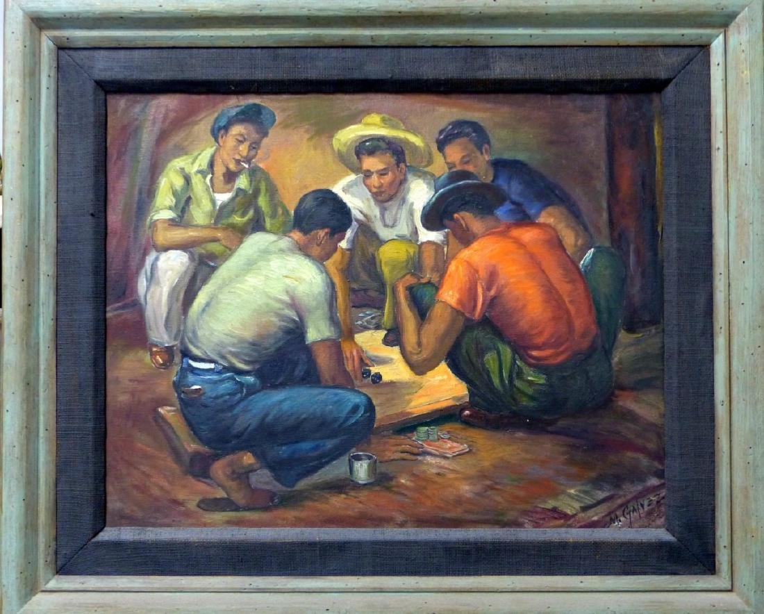 MIGUEL GALVEZ DICE PLAYERS OIL ON CANVAS