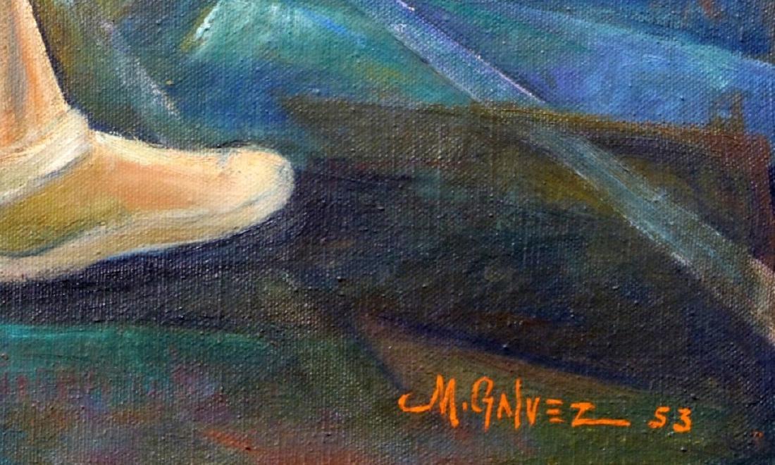 MIGUEL GALVEZ JAI ALAI OIL PAINTING ON CANVAS - 3