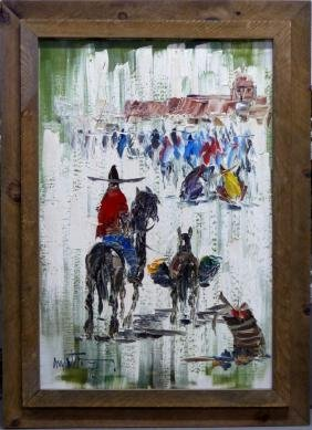 FRED SABATER OIL PAINTING ON CANVAS HORSE & BURRO