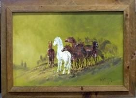 FRED SABATER OIL PAINTING ON CANVAS OF HORSES
