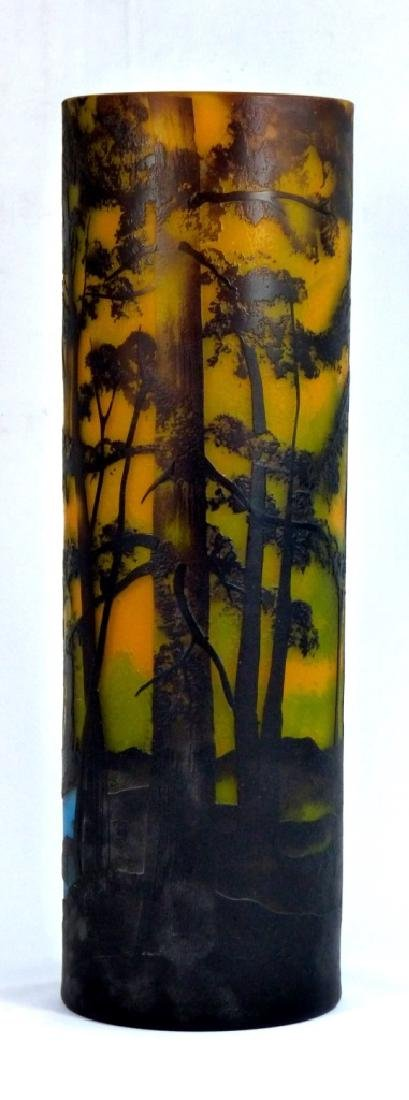 LARGE GALLE STYLE SCENIC CAMEO GLASS VASE - 2