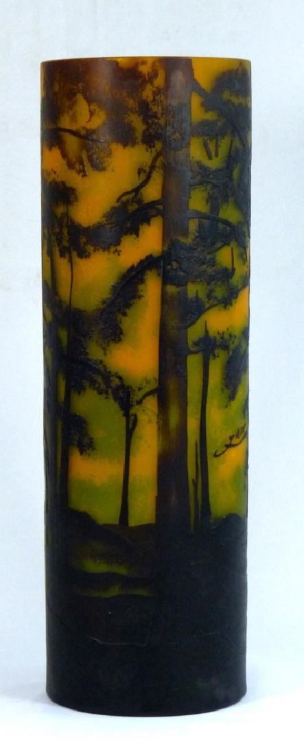 LARGE GALLE STYLE SCENIC CAMEO GLASS VASE - 3