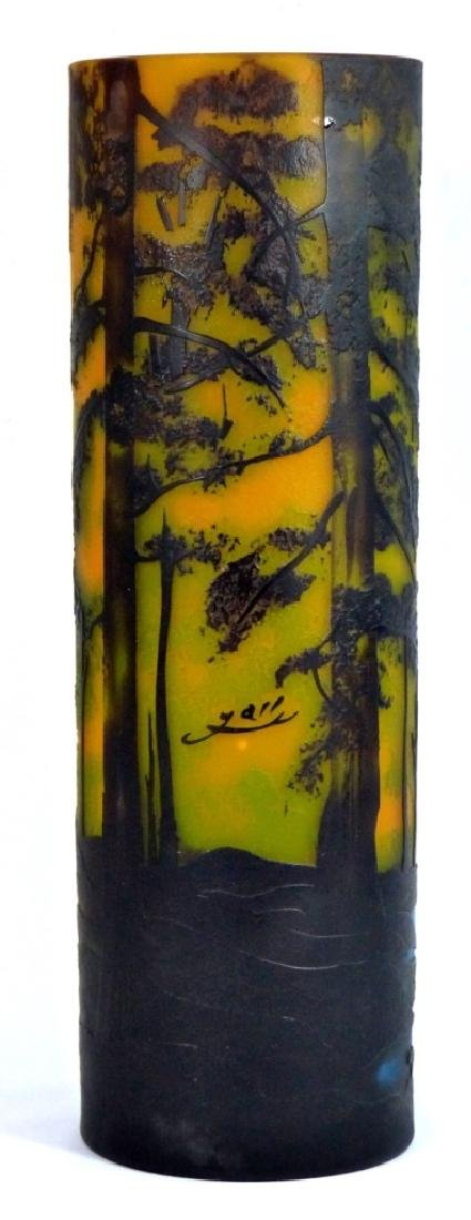 LARGE GALLE STYLE SCENIC CAMEO GLASS VASE - 4