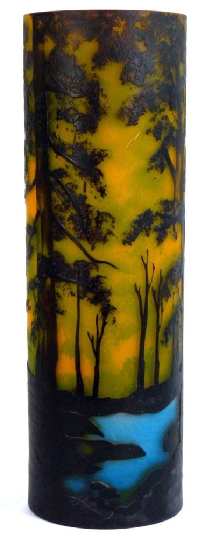 LARGE GALLE STYLE SCENIC CAMEO GLASS VASE - 5
