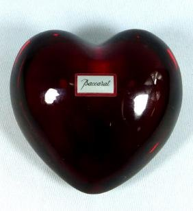 BACCARAT CRYSTAL RED HEART PAPERWEIGHT SIGNED