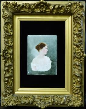 PORTRAIT OF WOMAN ON PORCELAIN PLAQUE