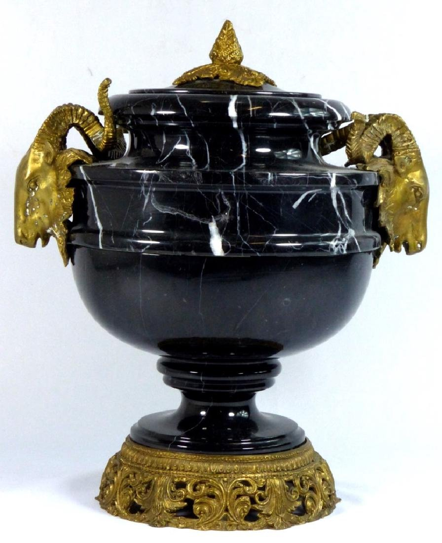 FRENCH BRONZE & MARBLE URN w RAMS