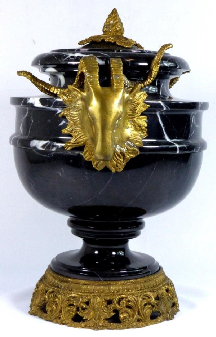 FRENCH BRONZE & MARBLE URN w RAMS - 2
