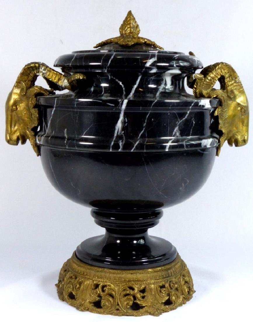 FRENCH BRONZE & MARBLE URN w RAMS - 4