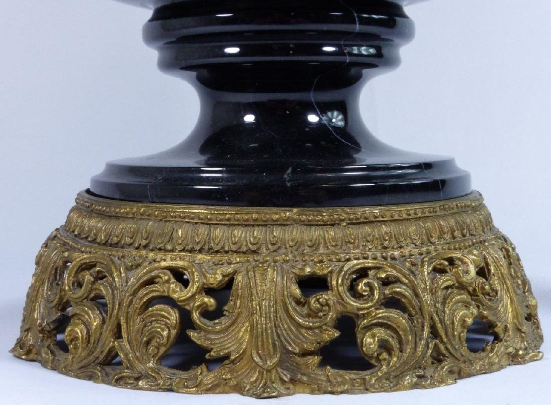 FRENCH BRONZE & MARBLE URN w RAMS - 6