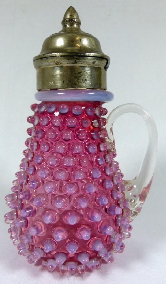 ANTIQUE OPALESCENT CRANBERRY GLASS SYRUP POT