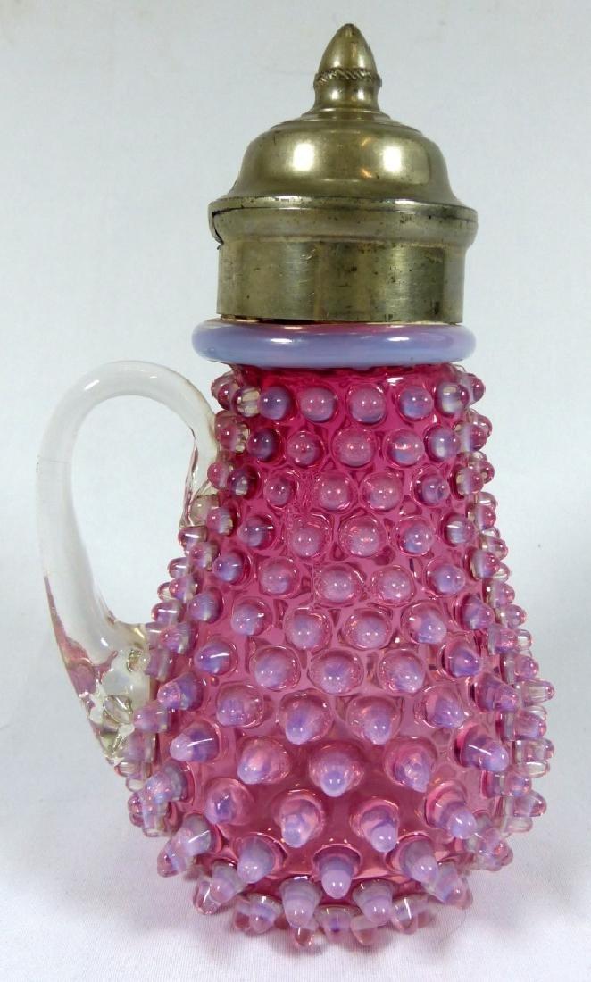 ANTIQUE OPALESCENT CRANBERRY GLASS SYRUP POT - 4