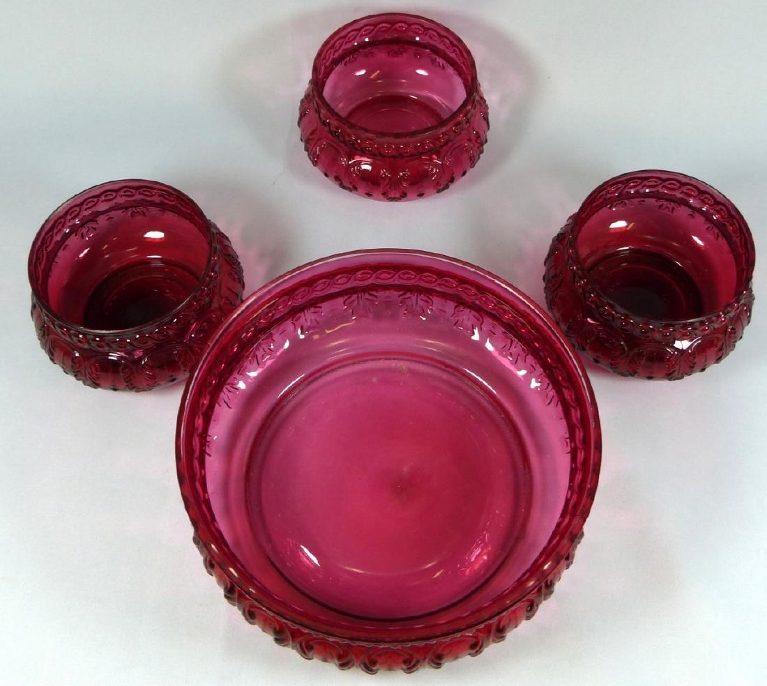 4pc ANTIQUE CRANBERRY GLASS BERRY BOWL SET