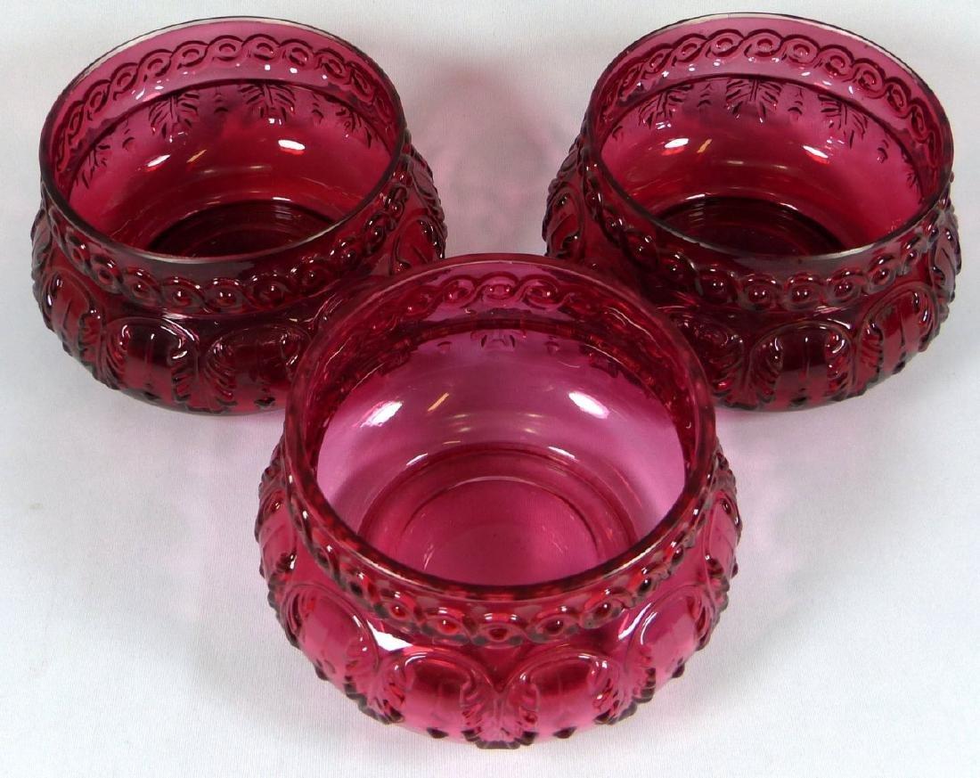 4pc ANTIQUE CRANBERRY GLASS BERRY BOWL SET - 5