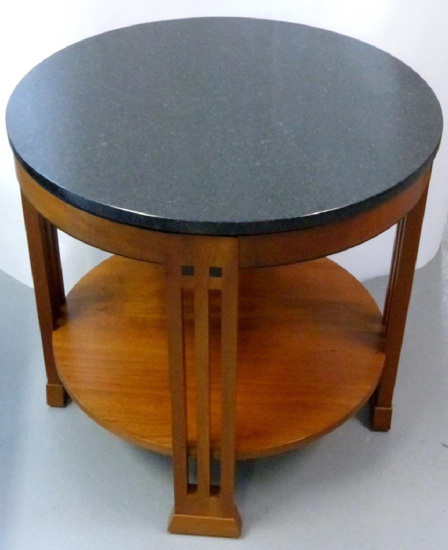 STICKLEY MARBLE TOP ROUND TABOURET TABLE - 2