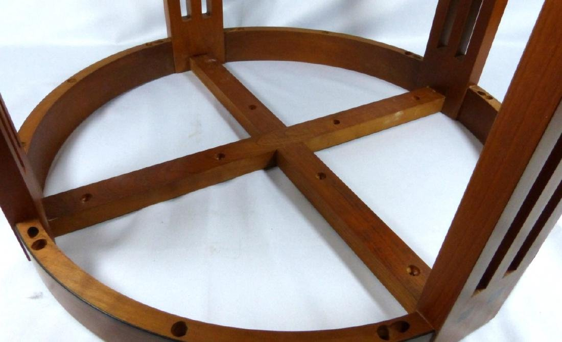 STICKLEY MARBLE TOP ROUND TABOURET TABLE - 7