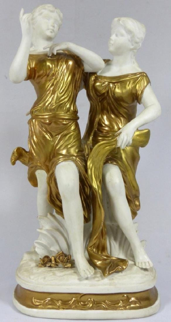 GERMAN BISQUE & GOLD GILT FIGURE OF TWO WOMEN