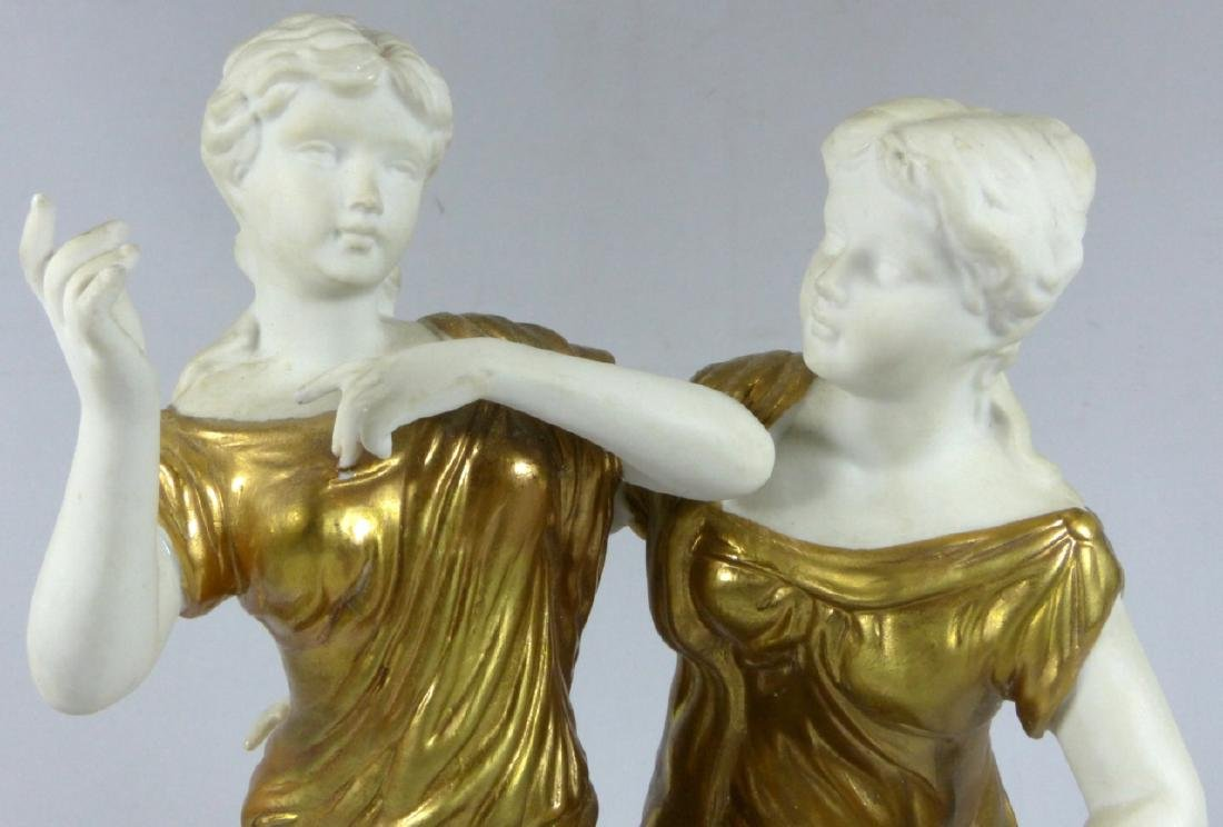 GERMAN BISQUE & GOLD GILT FIGURE OF TWO WOMEN - 8