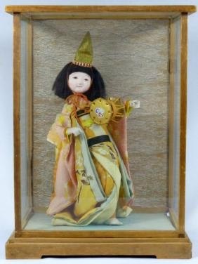 JAPANESE DOLL IN DISPLAY CASE