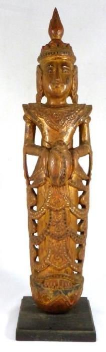 THAI CARVED WOOD JEWELED BUDDHA