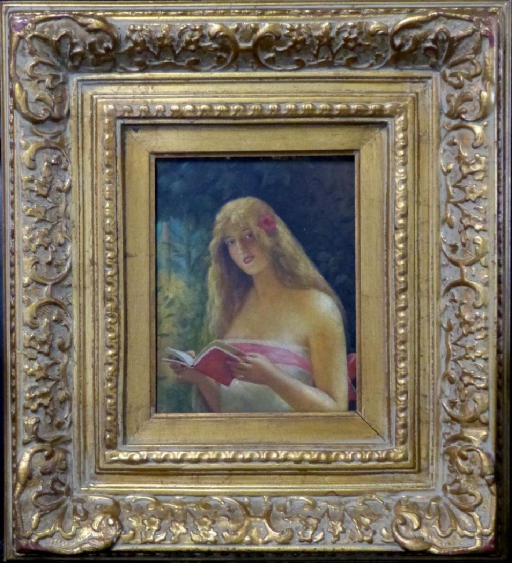 GIRL READING BOOK OIL PAINTING ON CANVAS