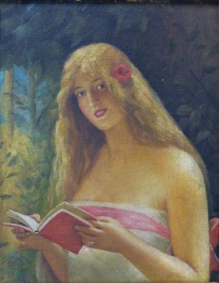 GIRL READING BOOK OIL PAINTING ON CANVAS - 2