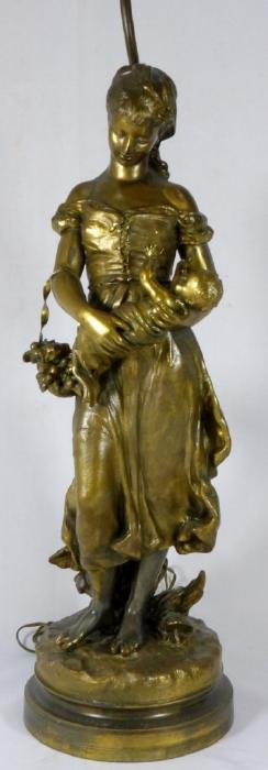 FRENCH BRONZE FIGURAL LAMP MOTHER & CHILD