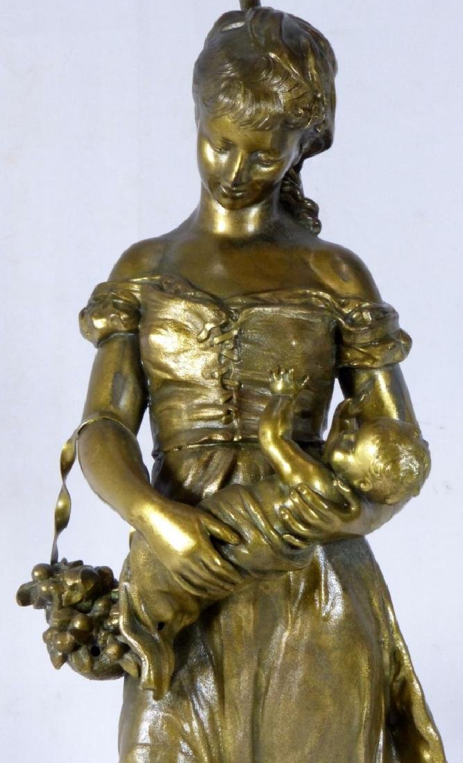 FRENCH BRONZE FIGURAL LAMP MOTHER & CHILD - 2
