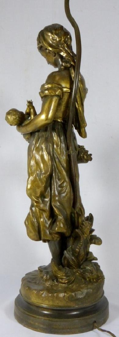 FRENCH BRONZE FIGURAL LAMP MOTHER & CHILD - 5