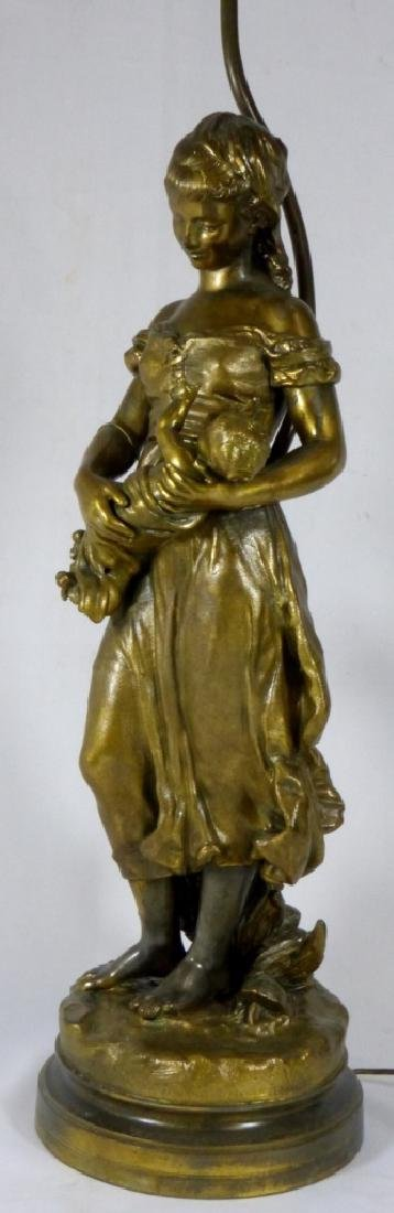 FRENCH BRONZE FIGURAL LAMP MOTHER & CHILD - 6
