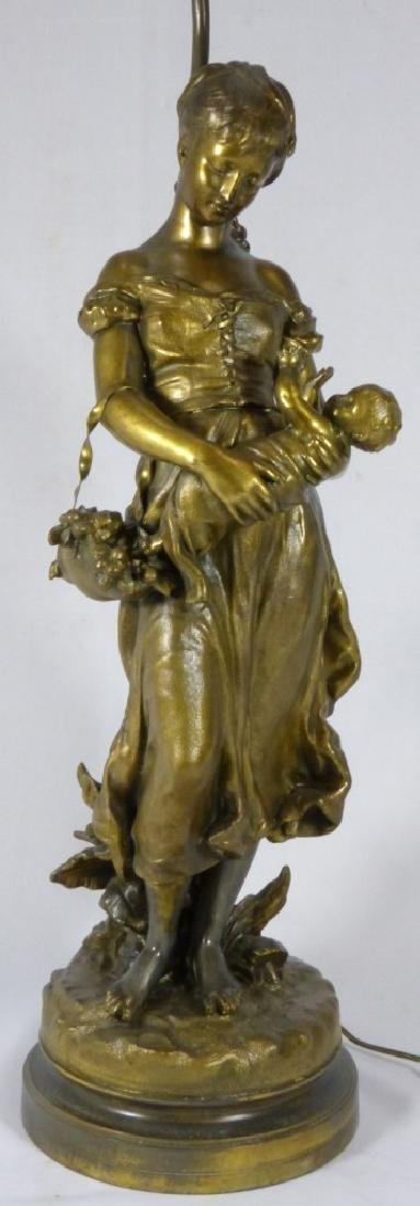 FRENCH BRONZE FIGURAL LAMP MOTHER & CHILD - 7