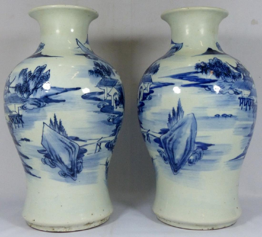 PR ANTIQUE CHINESE BLUE & WHITE VASES - 3
