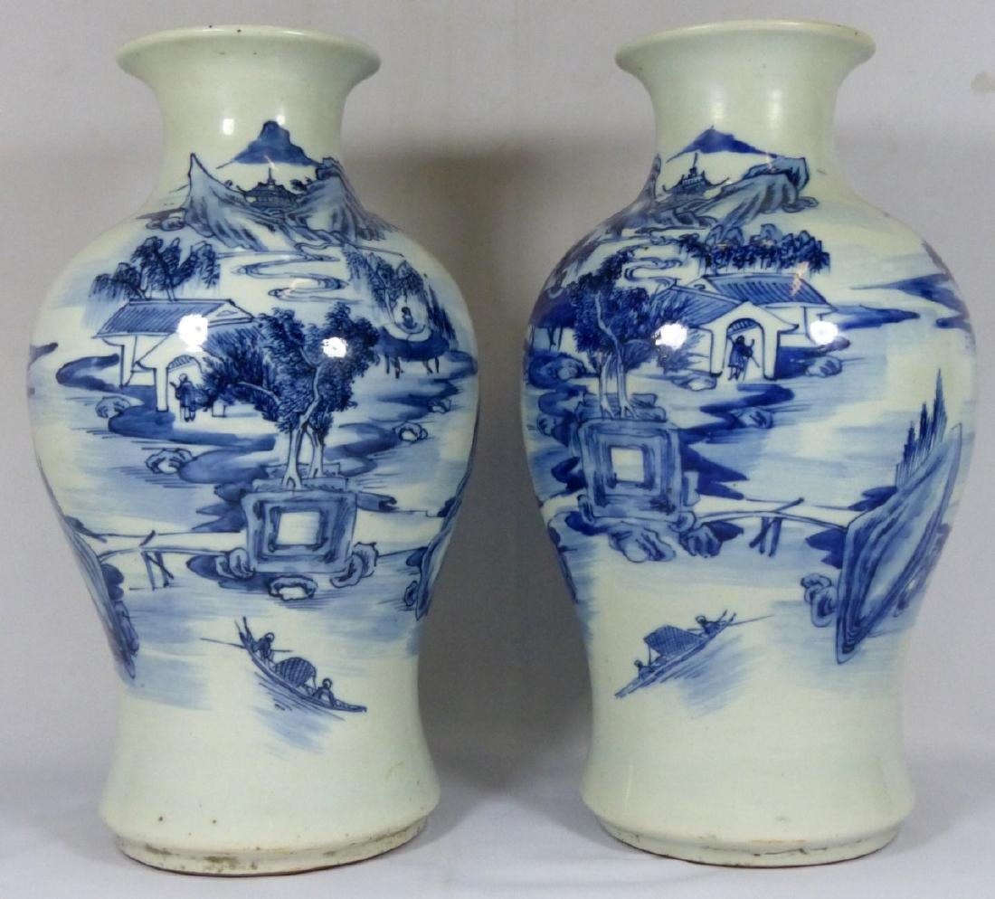 PR ANTIQUE CHINESE BLUE & WHITE VASES - 4