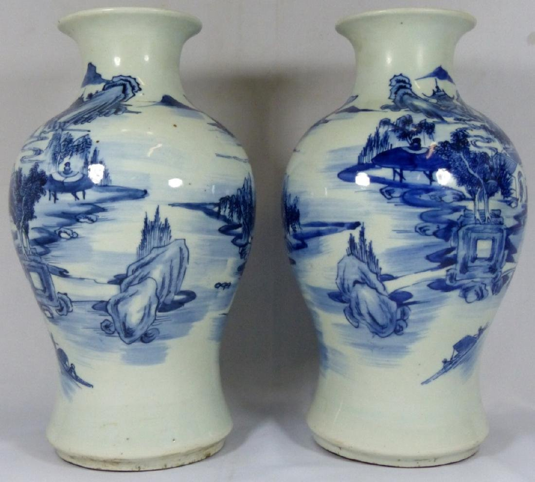 PR ANTIQUE CHINESE BLUE & WHITE VASES - 5