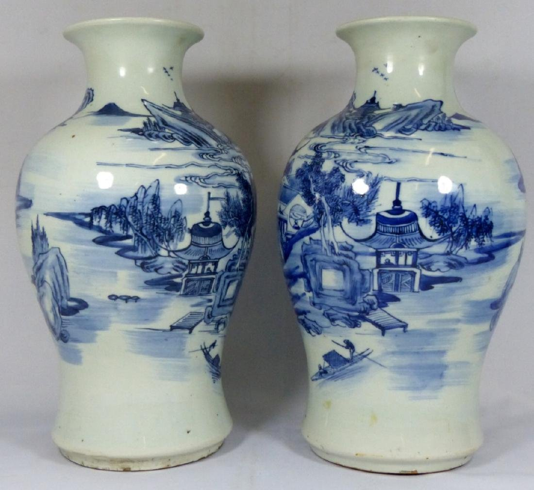 PR ANTIQUE CHINESE BLUE & WHITE VASES - 6