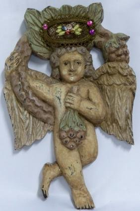 FRENCH WOOD CARVING OF A CHERUB w GRAPES