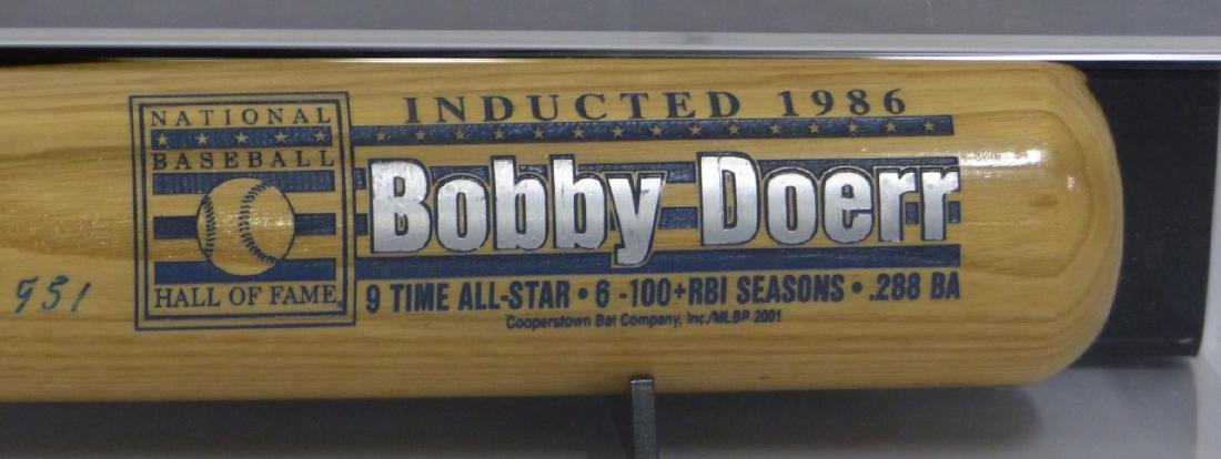 BOBBY DOERR SIGNED BAT w DISPLAY CASE - 7