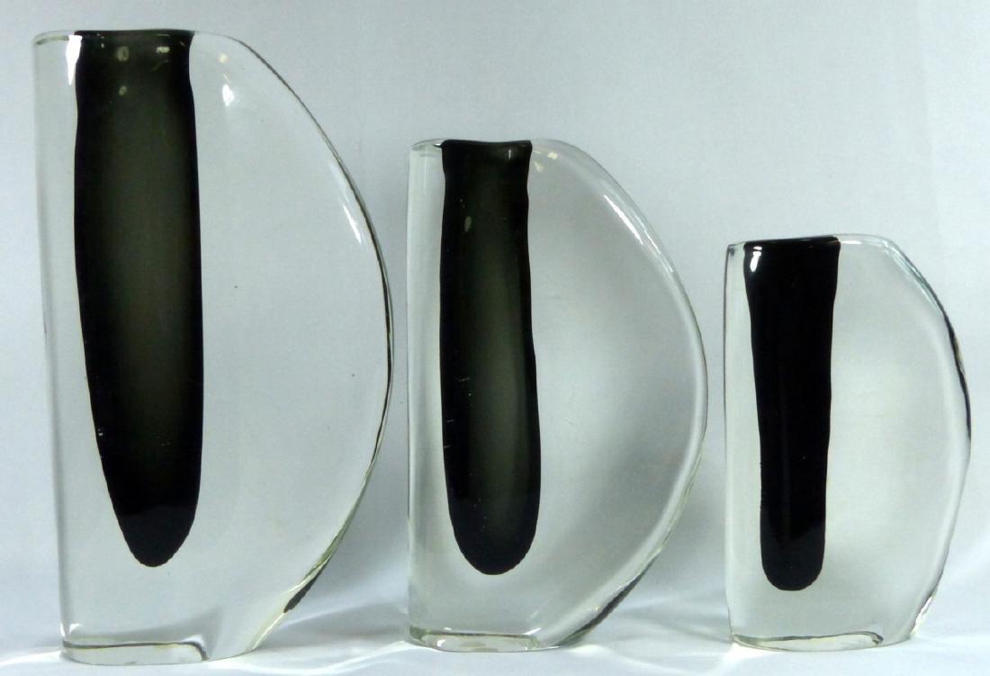 3pc CENEDESE MURANO SOMMERSO ART GLASS VASES