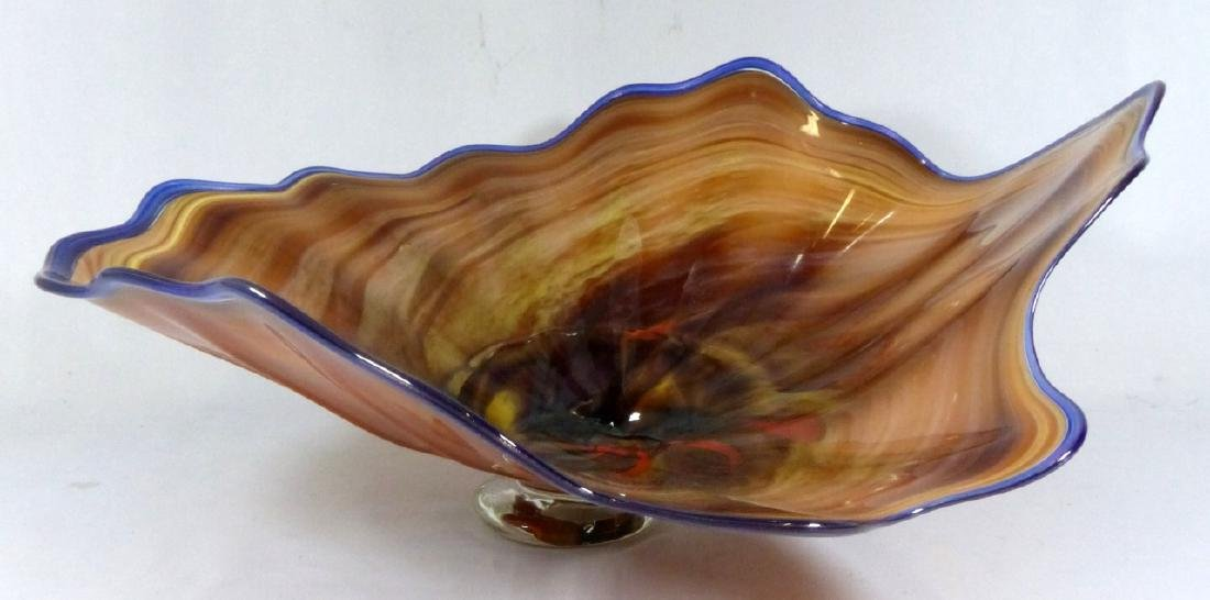 LARGE STUDIO ART GLASS FOOTED CENTERPIECE BOWL