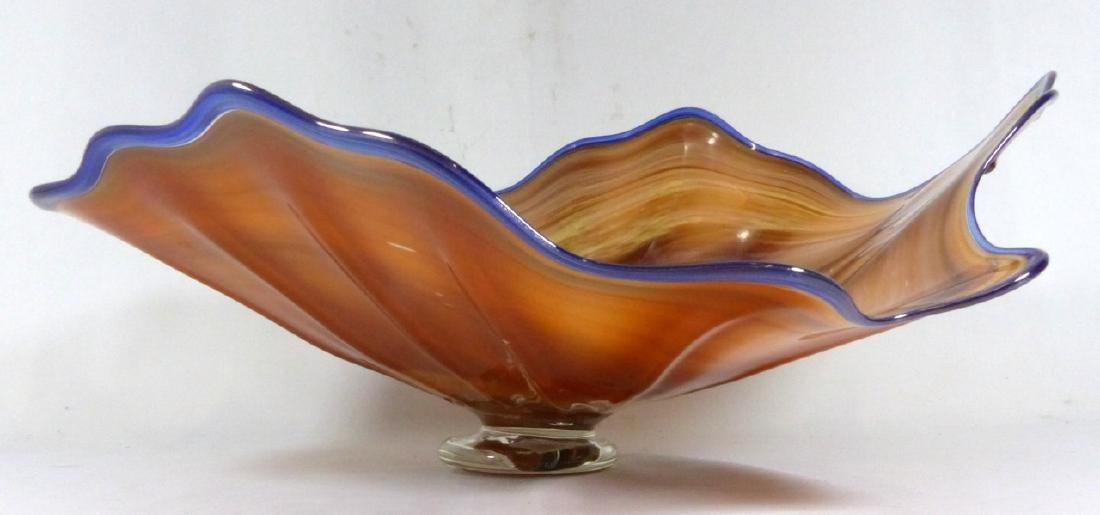 LARGE STUDIO ART GLASS FOOTED CENTERPIECE BOWL - 2