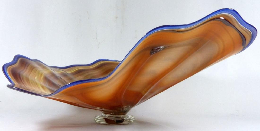 LARGE STUDIO ART GLASS FOOTED CENTERPIECE BOWL - 4