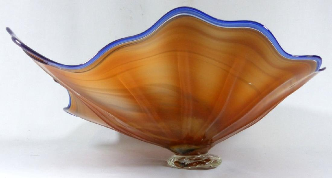 LARGE STUDIO ART GLASS FOOTED CENTERPIECE BOWL - 5