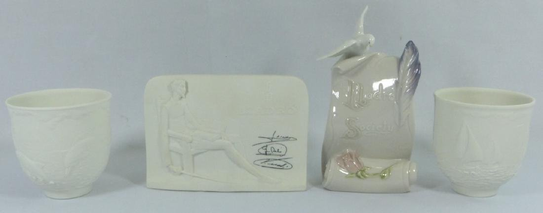 4pc LLADRO PORCELAIN CANDLE HOLDERS & PLAQUES - 2