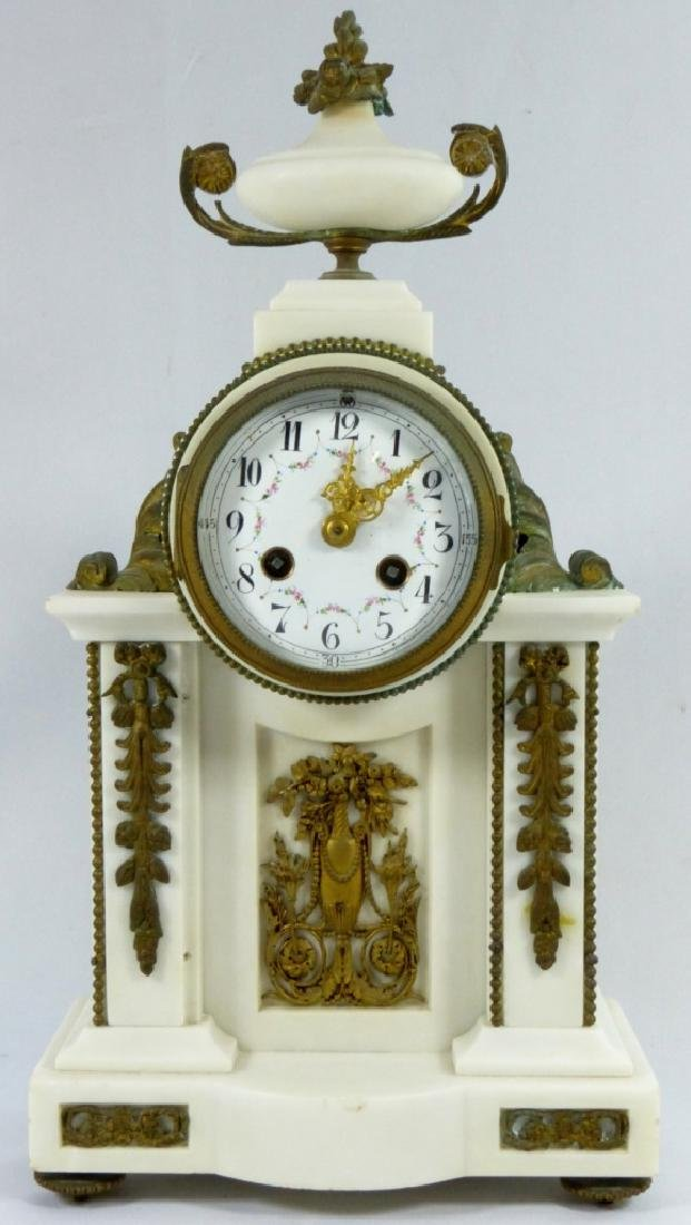 FRENCH MARBLE & BRONZE MANTLE CLOCK