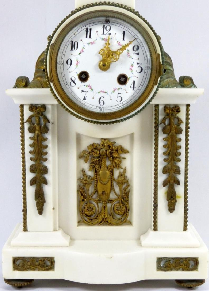 FRENCH MARBLE & BRONZE MANTLE CLOCK - 2