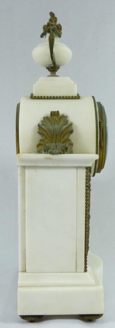 FRENCH MARBLE & BRONZE MANTLE CLOCK - 3